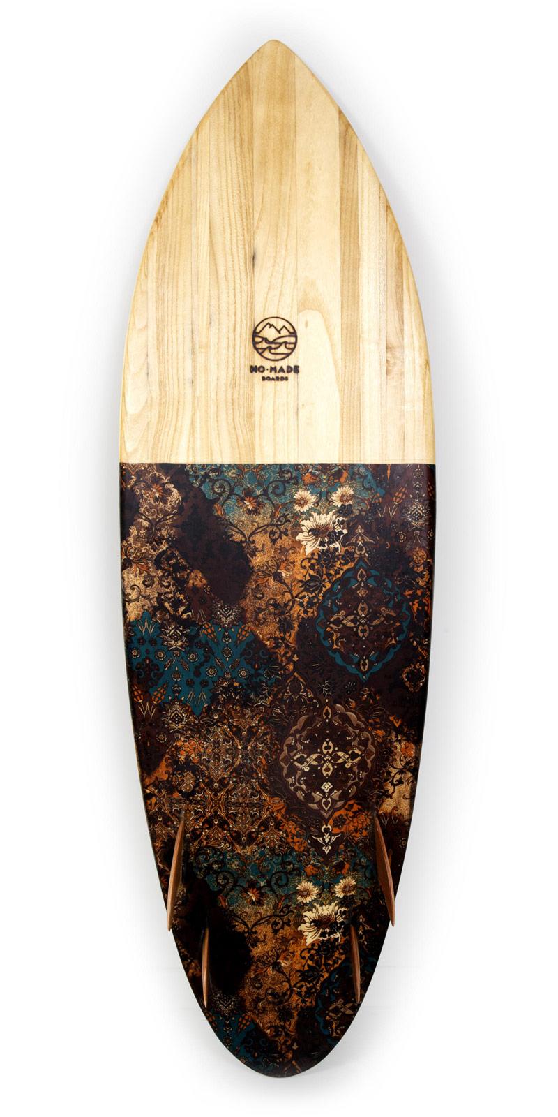 avocado wooden surfboard