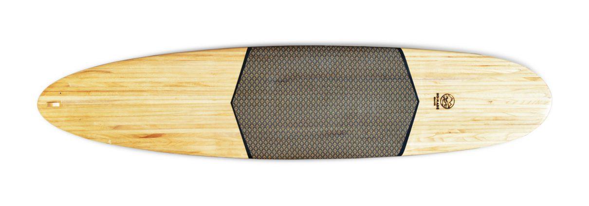 wooden surfbaord