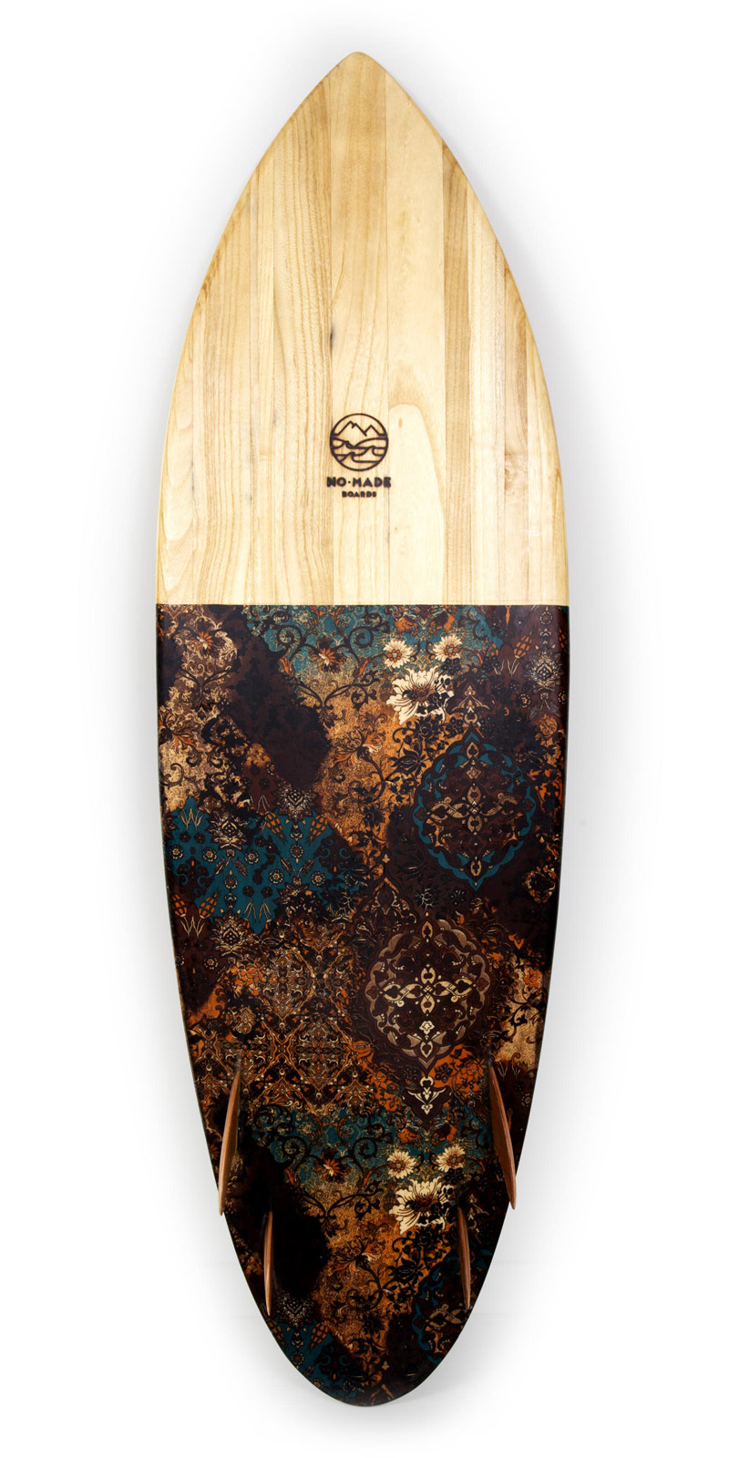 avocado wooden surfboard